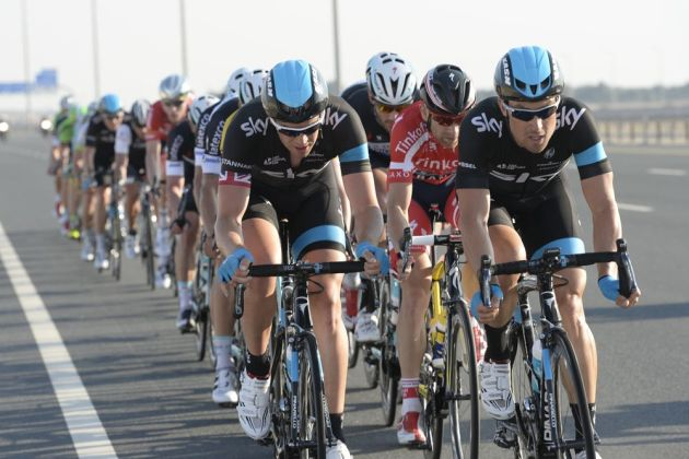 Bernhard Eisel and Ian Stannard on stage two of the 2014 Tour of Qatar