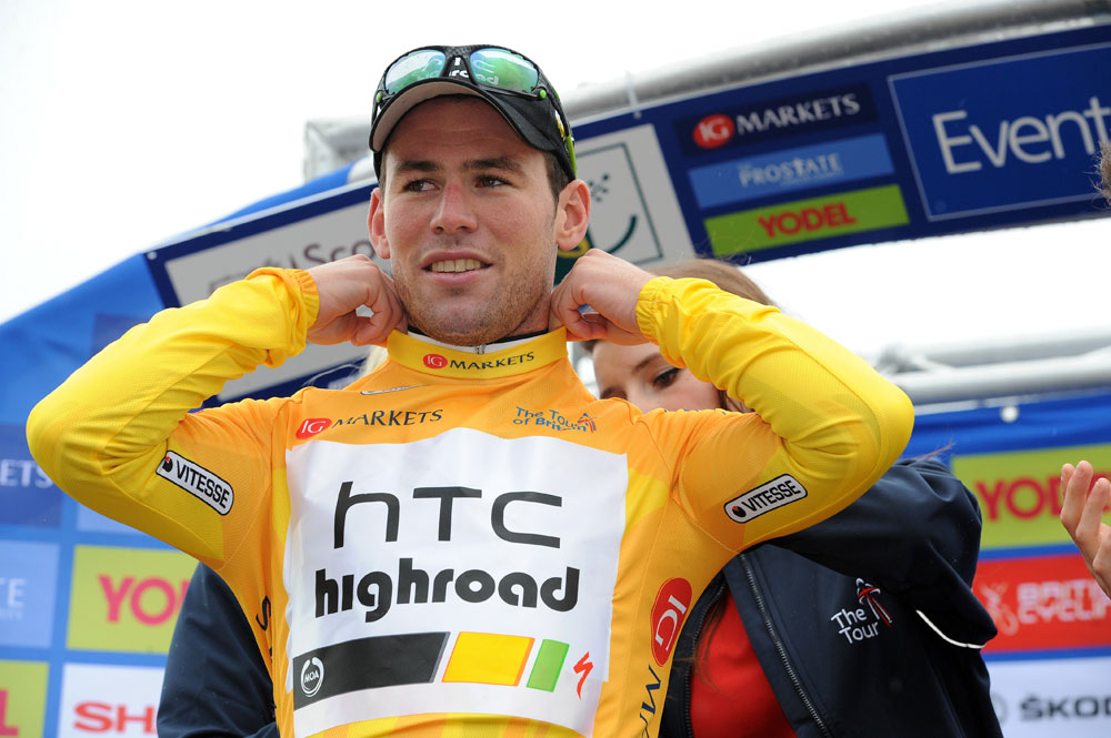 Mark Cavendish on podium, Tour of Britain 2011, stage one