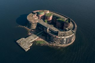 The abandoned Fort Alexander, also called the Plague Fort, sits on an artificial island near St. Petersburg, Russia.