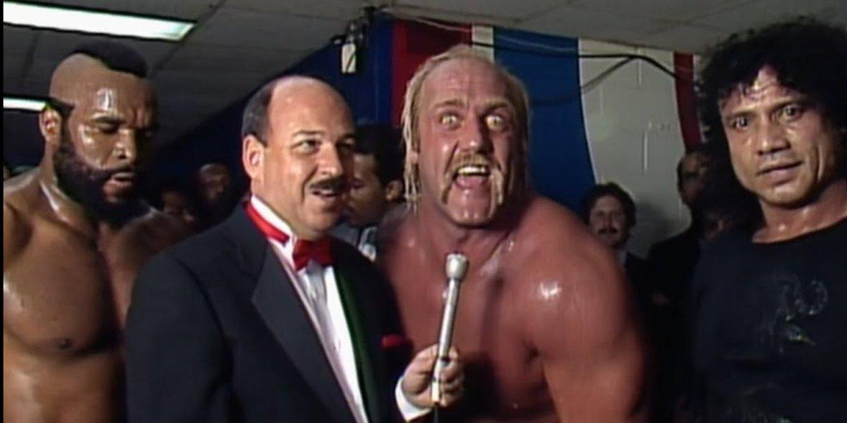 Mr. T, Gene Okerlund, Hulk Hogan, and Jimmy Snuka at WrestleMania 1