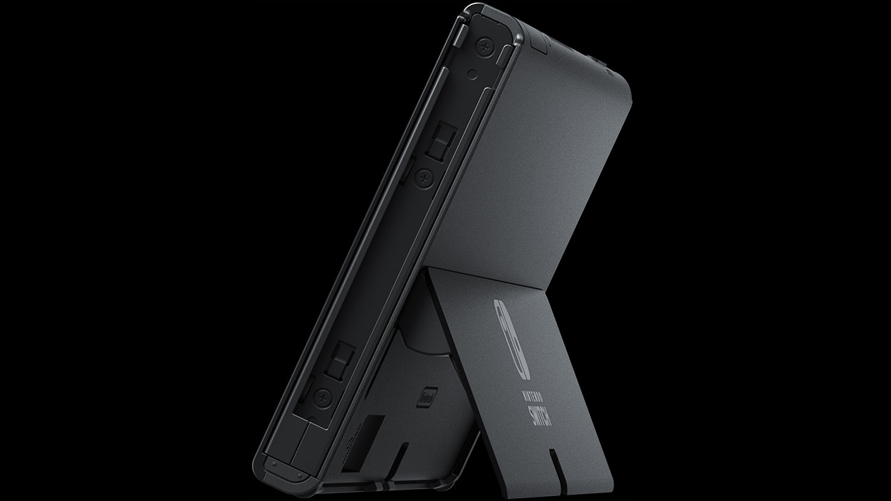 View of the rear of the Nintendo Switch OLED showing its wider kickstand