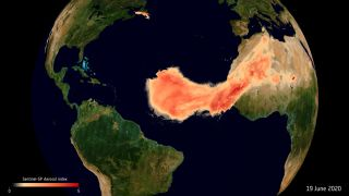 Satellite data showing the Sahara dust plume nicknamed Godzilla in June 2020.