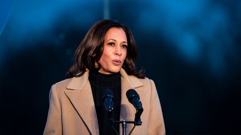 U.S. Vice President-elect Kamala Harris speaks during a Covid-19 memorial to lives lost on the National Mall in Washington, D.C., U.S., on Tuesday, Jan. 19, 2021. President-elect Joe Biden arrived in Washington on the eve of his inauguration with the usual backdrop of celebrations and political comity replaced by a military lockdown. Photographer: Al Drago/Bloomberg via Getty Images