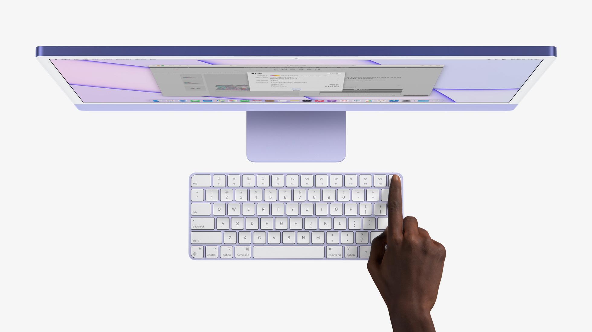 iMac 2021 in purple showing Touch ID on keyboard