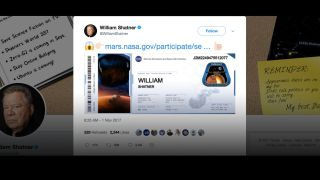 William Shatner's Mars 'Boarding Pass'