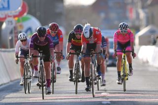 DE PANNE BELGIUM MARCH 25 Arrival Alice Barnes of United Kingdom and Team Canyon SRAM Racing Jolien Dhoore of Belgium and Team SD Worx Kirsten Wild of Netherlands and Ceratizit WNT Pro Cycling Team Lotte Kopecky of Belgium and Team Liv Racing Emma Norsgaard Jorgensen of Denmark and Movistar Team Elisa Balsamo of Italy and Team Valcar Travel Service during the 4th Oxyclean Brugge De Panne 2021 Women Classic a 1588km race from Brugge to De Panne OxycleanClassic UCIWWT on March 25 2021 in De Panne Belgium Photo by Luc ClaessenGetty Images
