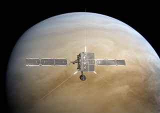 An artist's depiction of the Solar Orbiter spacecraft skimming past Venus.