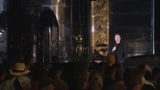 SpaceX CEO Elon Musk reveals new details about Starship Mk, the company's enormous reusable launch system, and talks aliens in Boca Chica, Texas on September 28, 2019.