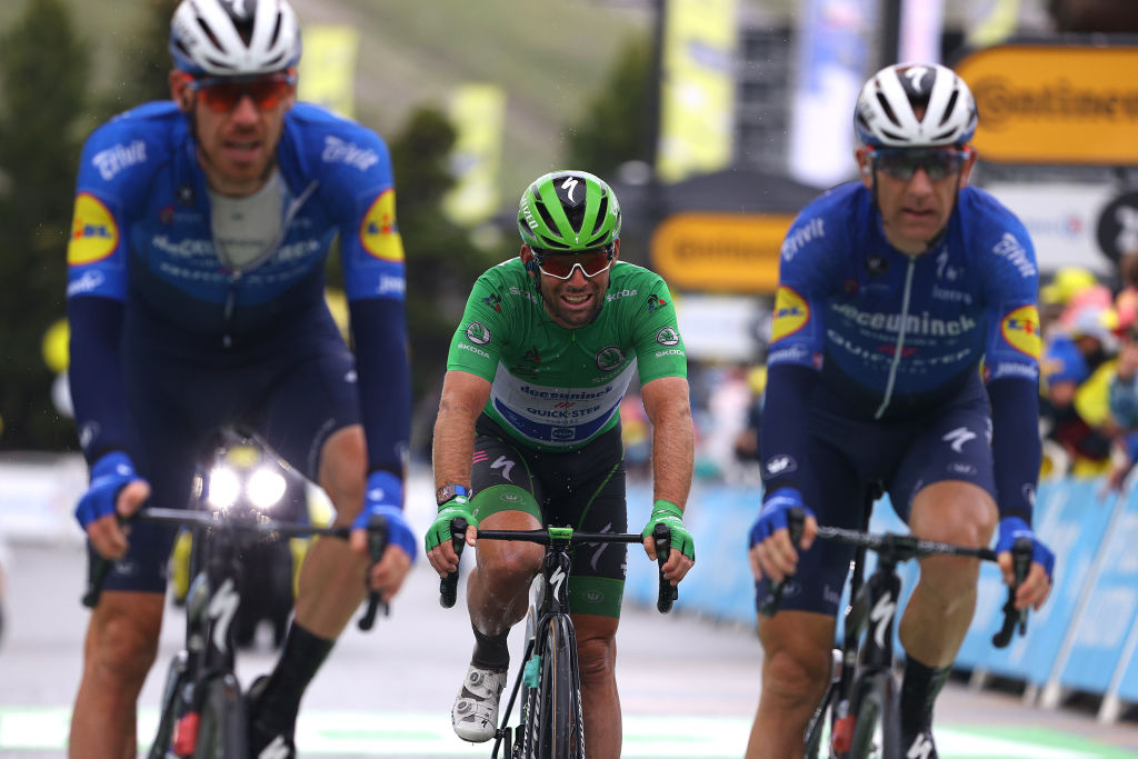 TIGNES FRANCE JULY 04 Mark Cavendish of The United Kingdom and Team Deceuninck QuickStep Green Points Jersey at arrival during the 108th Tour de France 2021 Stage 9 a 1449km stage from Cluses to Tignes Monte de Tignes 2107m LeTour TDF2021 on July 04 2021 in Tignes France Photo by Tim de WaeleGetty Images