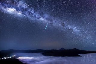 2013 Eta Aquarid Meteor Over Mount Bromo