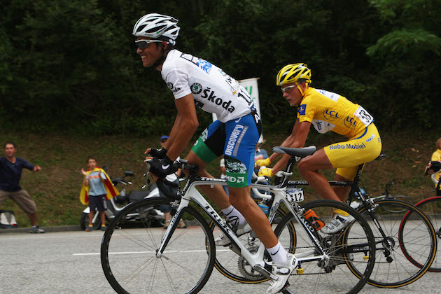 d9a7ba59a Alberto Contador and Michael Rasmussen on stage 14 of the 2007 Tour de  France (Credit  Sunada)