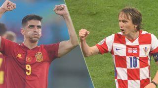 Croatia vs Spain live stream at Euro 2020 — Gerard Moreno of Spain and Luca Modric of Croatia