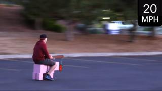 A man rides a Minecraft pig he built at 20mph.