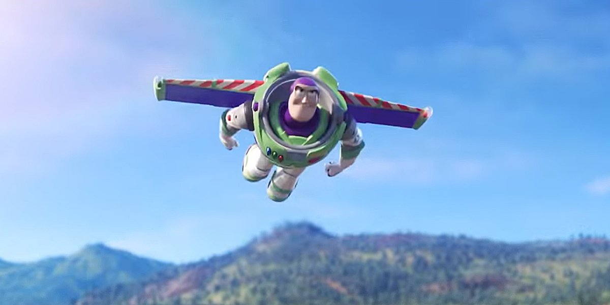 Buzz Lightyear flying in Toy Story 4