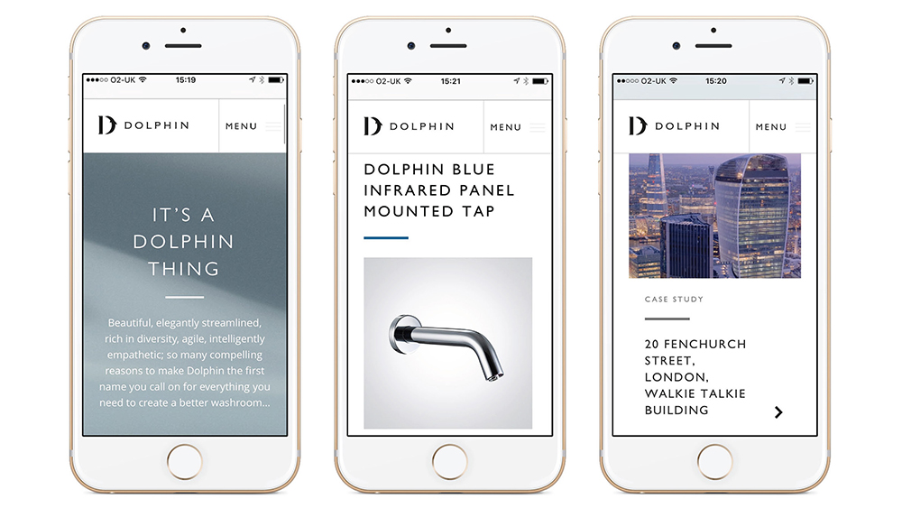 Three iPhones show Dolphin bathrooms' website