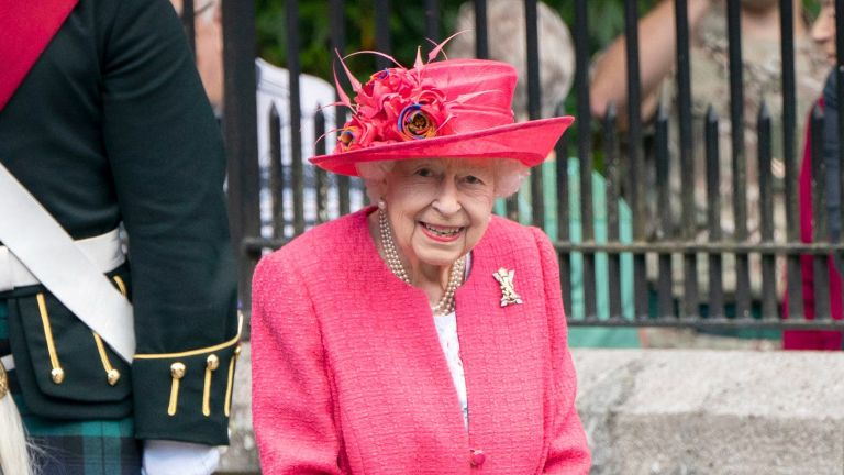 Queen Elizabeth II during an inspection of the Balaklava Company, 5 Battalion The Royal Regiment of Scotland at the gates at Balmoral, as she takes up summer residence at the castle, on August 9, 2021