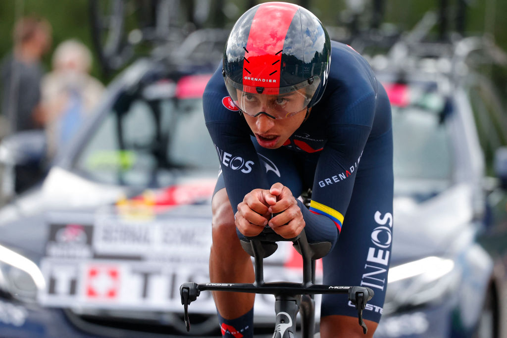 Team Ineos rider Colombias Egan Bernal competes in the first stage of the Giro dItalia 2021 cycling race a 86 km individual time trial on May 8 2021 in Turin Photo by Luca Bettini AFP Photo by LUCA BETTINIAFP via Getty Images