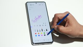 Samsung Galaxy Note 10 Lite with a flat display