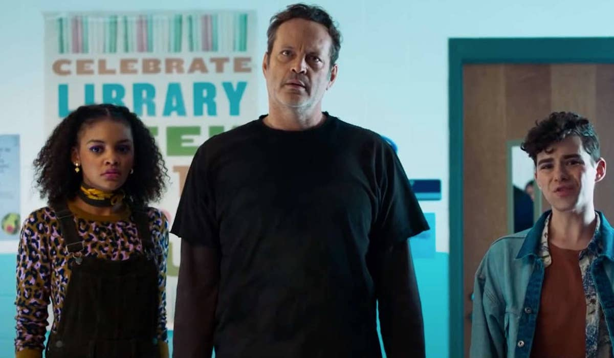 Celeste O'Connor, Vince Vaughn and Misha Osherovich in Freaky