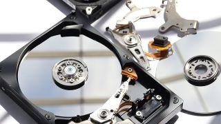 A hard drive, disassembled
