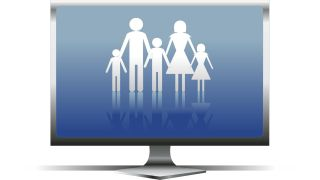 Illustration of family in silhouettes on computer monitor