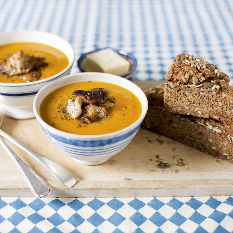Photo of Butternut Squash Soup with shiitake mushrooms & rye soda bread