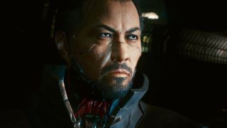 Goro Takemura from Cyberpunk 2077. His neck is robotic.