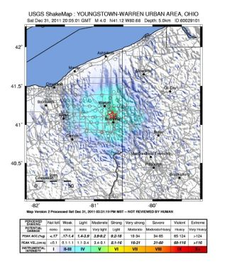 Youngstown, Ohio earthquake shakemap