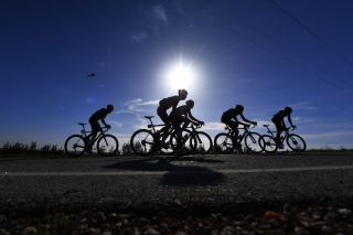 LOULE PORTUGAL FEBRUARY 24 Shadow Silhouette Landscape Peloton during the 45th Volta ao Algarve Stage 5 a 1735km stage from Faro to Alto Do Malho 518m Loul VA VAlgarve2019 on February 24 2019 in Loul Portugal Photo by Tim de WaeleGetty Images
