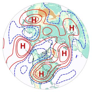 """This """"wavenumber-5"""" pattern often precedes heat waves and consists of five high-pressure systems, denoted """"H"""" in this image."""