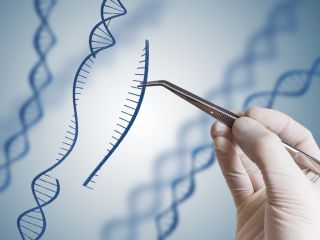 illustration of gloved hand using tweezers to edit DNA