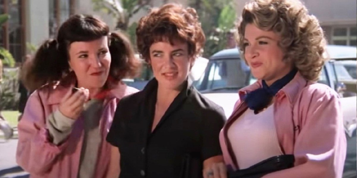 Jamie Donnelly as Jan, Stockard Channing as Rizzo and Dinah Manoff as Marty in Grease.