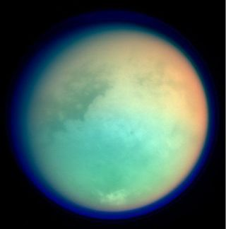 This false-color image from NASA's Cassini spacecraft shows Titan in ultraviolet and infrared wavelengths.