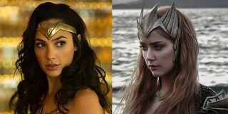 Gal Gadot as Wonder Woman and Amber Heard as Mera in Aquaman