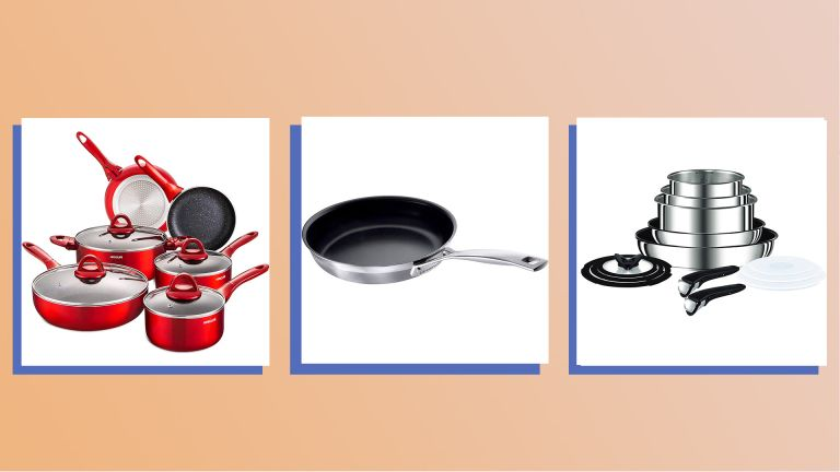 A collage image of some of our Homes Editors picks for the best Amazon Prime Day pan deals