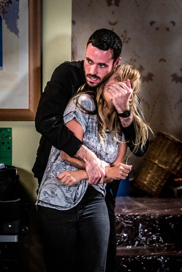 Coronation Street Live episode in which Callum attacks Sarah and is killed off (Joseph Scanlon/ITV)
