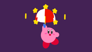 3D Kirby floating through a ring of stars with an umbrella
