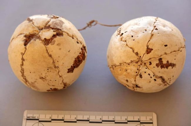 These leather balls found near a pair of ancient sandals.