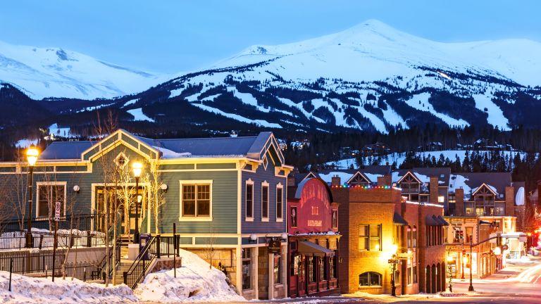 Snow-covered Peak 8, ski area and Downtown Breckenridge, Colorado USA