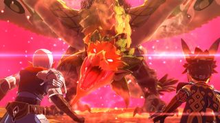 The player and their Buddy engage an enraged Rathian in Monster Hunter Stories 2