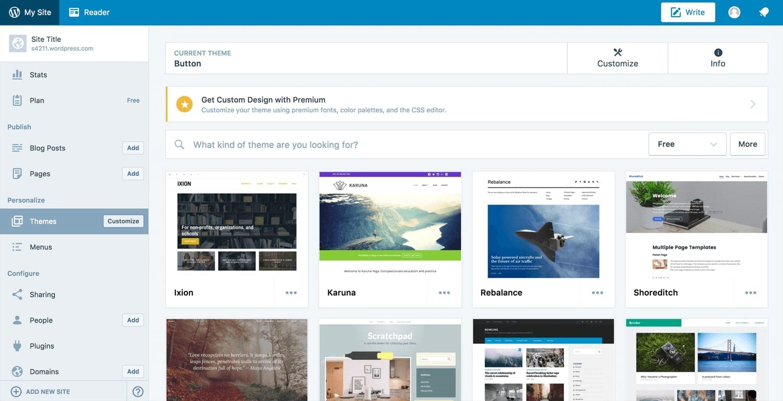 WordPress' selection of website templates