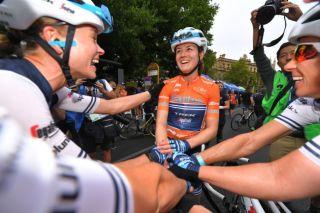 Trek-Segafredo's Ruth Winder celebrates winning the 2020 Women's Tour Down Under