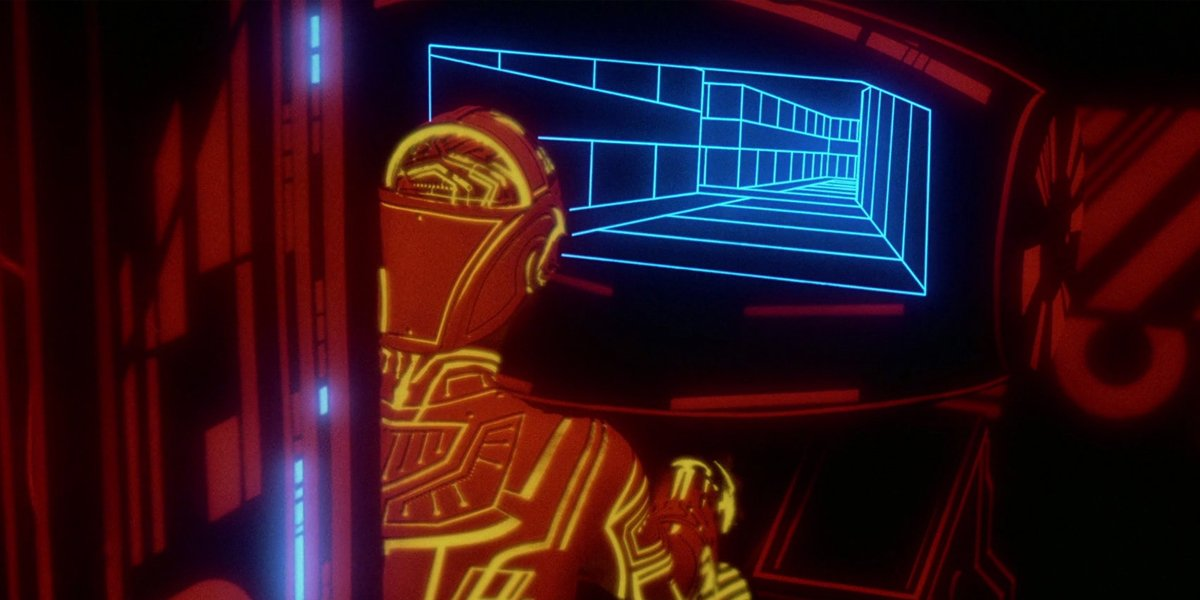 Tron driving in a tunnel