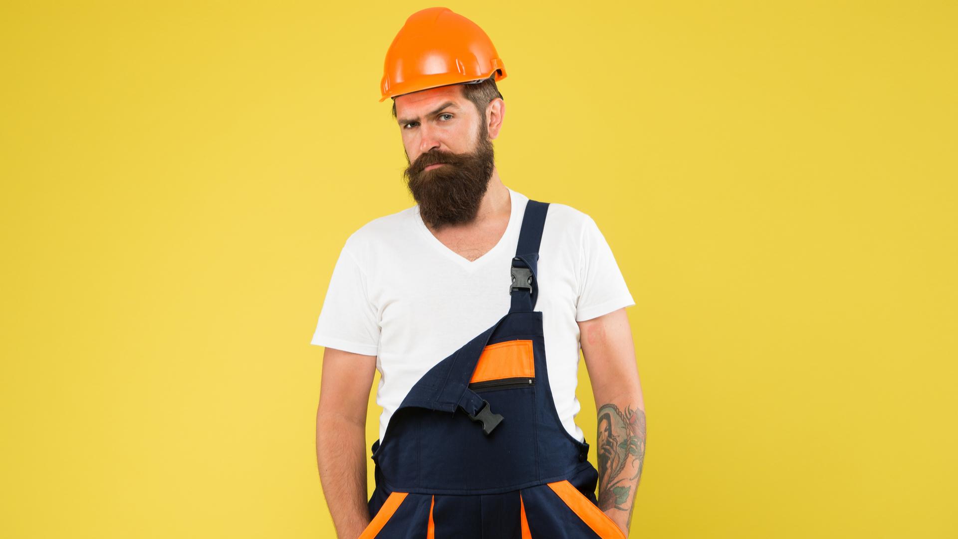 A grumpy looking builder