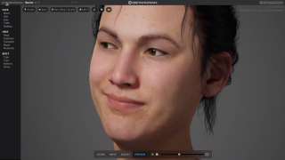 A virtual woman smiling.