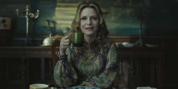 Michelle Pfeiffer holding a cup in Dark Shadows