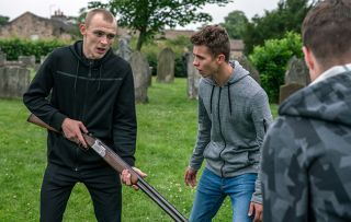 A wound-up Josh Crowther stupidly takes Pollard's shotgun and after some teasing from Jamie and his gang, before long the gun has been fired and the police called in Emmerdale.