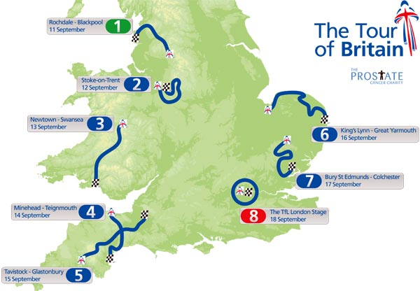 Tour of Britain 2010 map