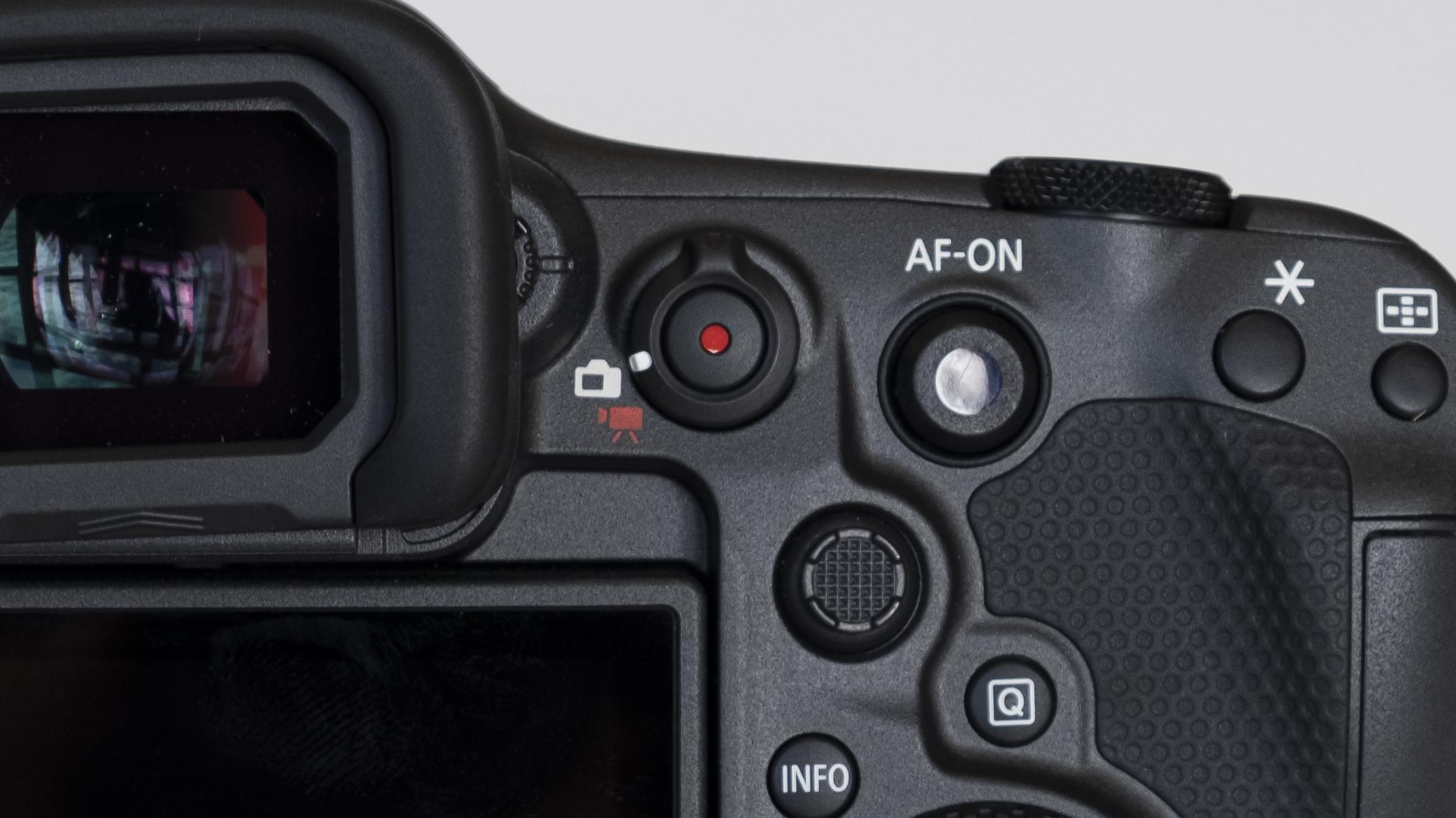 The smart controller button on the Canon EOS R3 mirrorless camera