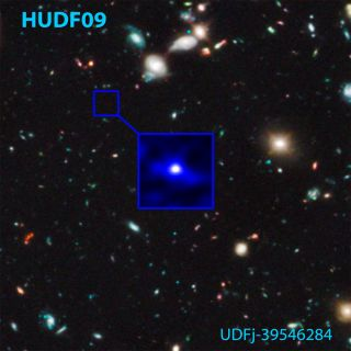 Shown here is the Hubble Space Telescope's photo of a candidate galaxy that existed 480 million years after the Big Bang (the z~10 galaxy) and the position in the Hubble Ultra Deep Field (HUDF) where it was found. The galaxy is touted as the oldest, most